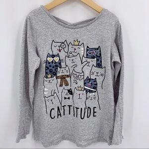 Catitude cat grey long sleeve tee cross cross back